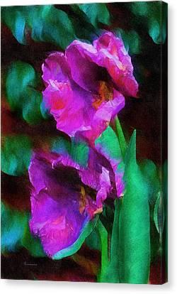 Textures Canvas Print featuring the digital art Magenta Nights by Georgiana Romanovna