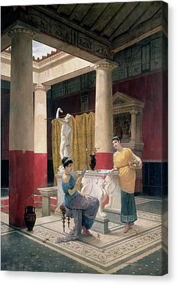 Maidens In A Classical Interior Canvas Print by Luigi Bazzani