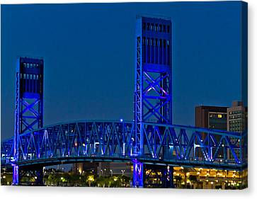 Main Street Bridge Jacksonville Canvas Print by Debra and Dave Vanderlaan