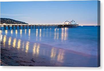Malibu Pier Reflections Canvas Print by Adam Pender