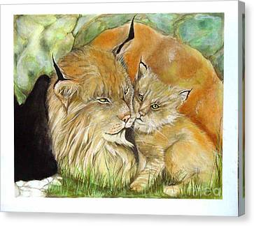 Mama And Baby Lynx Canvas Print by Sandra Valentini