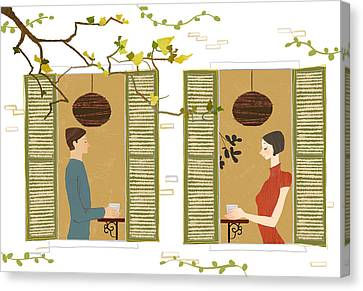 Man And Woman Drinking Coffee View From Window Canvas Print by Eastnine Inc.