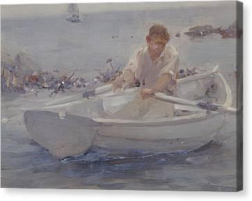 Man In A Rowing Boat Canvas Print by Henry Scott Tuke