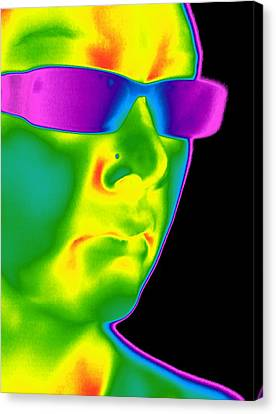 Man Wearing Sunglasses, Thermogram Canvas Print by Tony Mcconnell