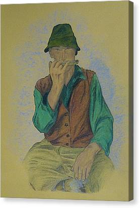 Man With Harmonica Canvas Print by Kat At illustraat