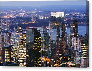 Manhattan Skyscrapers At Dusk Canvas Print by Jeremy Woodhouse
