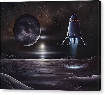 Manned Mission To Charon, Artwork Canvas Print by Richard Bizley