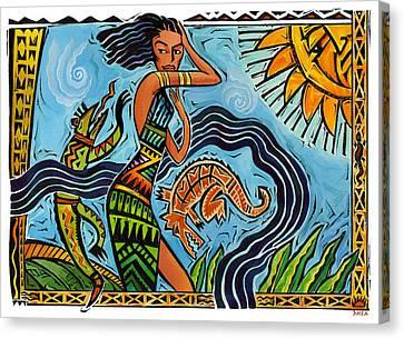 Maori Woman Dance Canvas Print by Shawn Shea