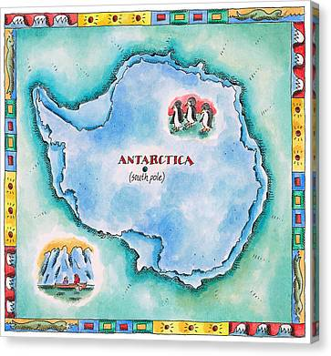 Map Of Antarctica Canvas Print by Jennifer Thermes