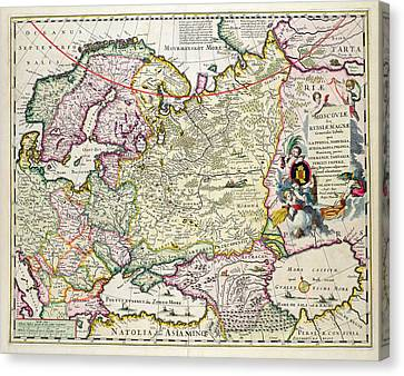 Map Of Asia Minor Canvas Print by Nicolaes Visscher