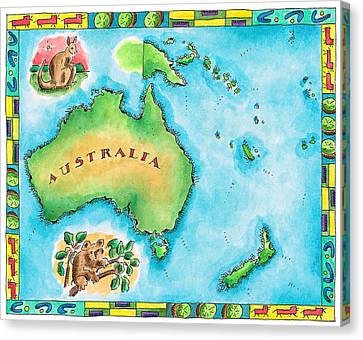 Map Of Australia Canvas Print by Jennifer Thermes