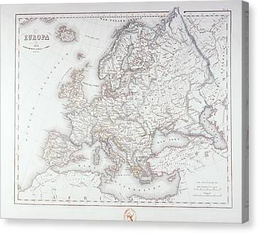 Map Of Europe Canvas Print by Fototeca Storica Nazionale