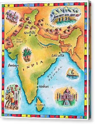 Map Of India Canvas Print by Jennifer Thermes