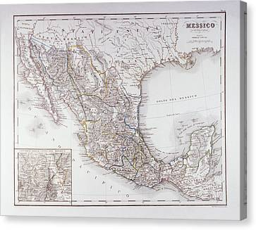 Map Of Mexico And Outlines Of Mexico City Canvas Print by Fototeca Storica Nazionale