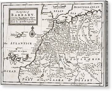 Map Of The West Part Of Barbary Canvas Print by Hermann Moll