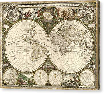 Map Of The World, 1660 Canvas Print by Photo Researchers