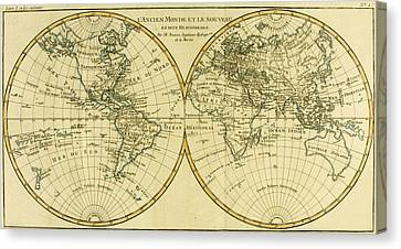 Map Of The World In Two Hemispheres Canvas Print by Guillaume Raynal