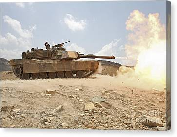 Marines Bombard Through A Live Fire Canvas Print by Stocktrek Images
