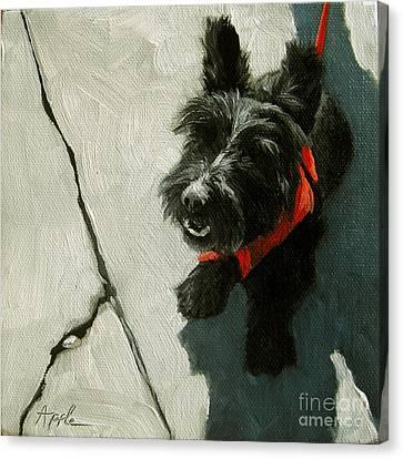 Market Day - Scottie Dog Canvas Print by Linda Apple