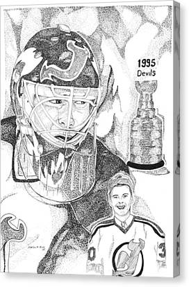 Martin Brodeur Sports Portrait Canvas Print by Marty Rice