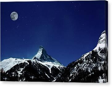 Matterhorn Switzerland Blue Hour Canvas Print by Maria Swärd