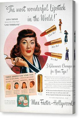 Max Factor Lipstick Ad Canvas Print by Granger