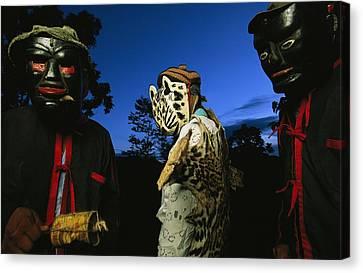 Maya Dancers Dressed As Hunters Canvas Print by Steve Winter