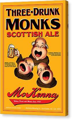 Mckenna Three Drunk Monks Canvas Print by John OBrien