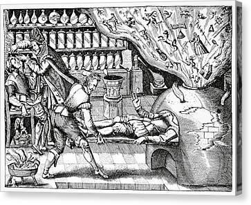 Medical Purging, Satirical Artwork Canvas Print by