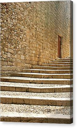 Medieval Stone Steps With One Doorway At The Top. Canvas Print by Tracy Packer Photography
