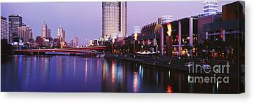 Melbourne And The Yarra River At Dusk Canvas Print by Jeremy Woodhouse
