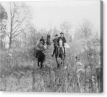 Men And Boy On Horses During Hunt Canvas Print by Everett