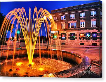 Menasha Lighted Fountain Canvas Print by Mark David Zahn