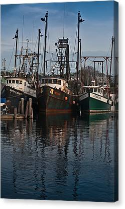 Menemsha Village Fishing Boats Canvas Print by Peggie Strachan