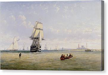 Meno War Schooners And Royal Navy Yachts Canvas Print by Claude T Stanfield Moore