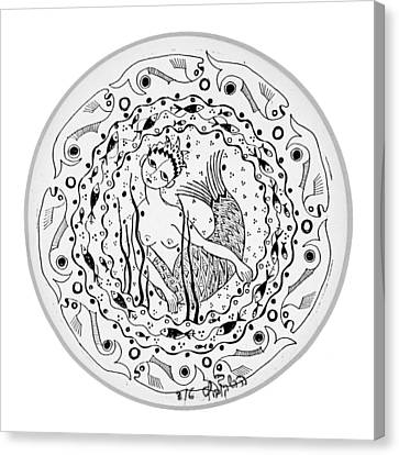 Mermaid In Black And White Round Circle With Water Fish Tail Face Hands  Canvas Print by Rachel Hershkovitz