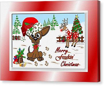 Merry Freakin' Christmas Canvas Print by Madeline  Allen - SmudgeArt