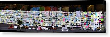 Messages To Steve Jobs . Rip . San Francisco Apple Store Memorial . Right Side . October 5 2011 Canvas Print by Wingsdomain Art and Photography