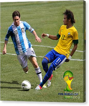 Messi And Neymar Clash Of The Titans World Cup 2014 Canvas Print by Lee Dos Santos
