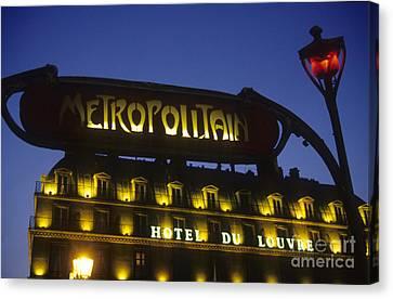 Metro Sign. Paris. France Canvas Print by Bernard Jaubert