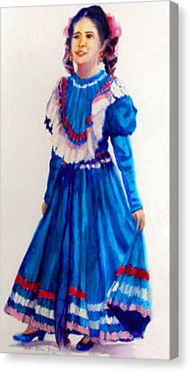 Mexco Srta In Blue Canvas Print by Estela Robles