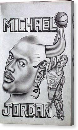 Michael Jordan Double Exposure Canvas Print by Rick Hill