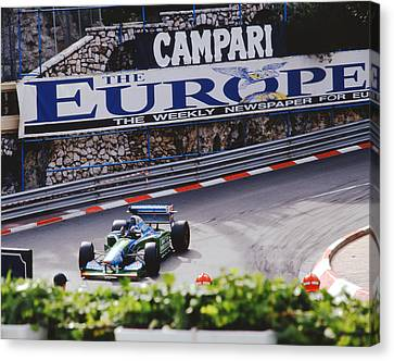 Michael Schumacher After Winning Monaco Gp  Canvas Print by John Bowers