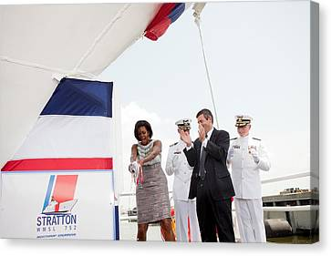 Michelle Obama Christens The Us Coast Canvas Print by Everett