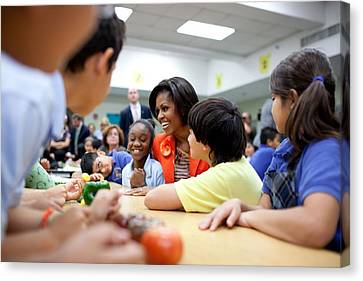 Michelle Obama Joins Students Canvas Print by Everett