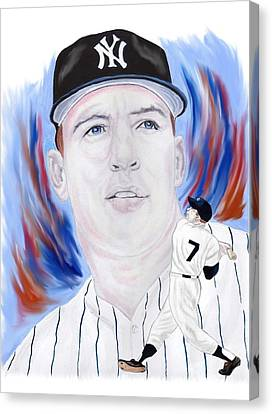Mickey Mantle Canvas Print by Steve Ramer