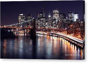 Midnight In The Shadow Of Brooklyn Bridge II- Brooklyn Bridge Canvas Print by Lee Dos Santos