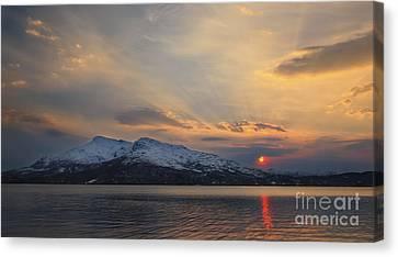 Midnight Sun Over Tjeldsundet Strait Canvas Print by Arild Heitmann