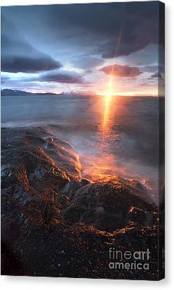 Midnight Sun Over Vågsfjorden Canvas Print by Arild Heitmann