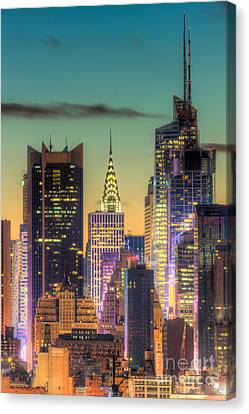 Midtown Buildings Morning Twilight Canvas Print by Clarence Holmes